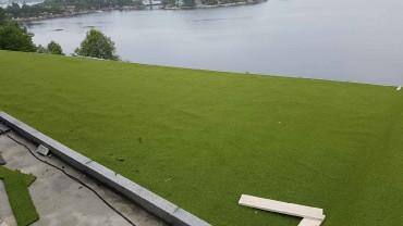 I dag har jeg rullet ut gresset på golfbanen